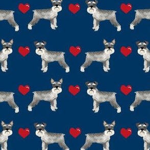 schnauzer love fabric - cropped and natural ears - schnauzer fabric - navy