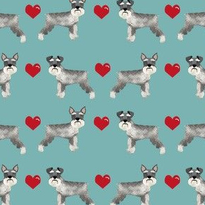 schnauzer love fabric - cropped and natural ears - schnauzer fabric - gulf blue