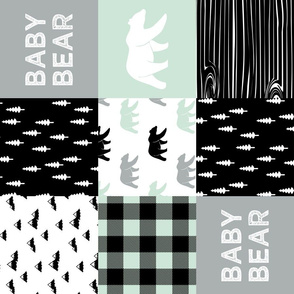 baby bear - woodland patchwork fabric - black mint grey - bears (90)