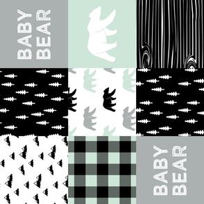 baby bear - woodland patchwork fabric - black mint grey - bears (90)