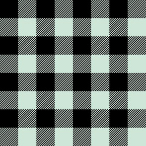 "buffalo plaid 1"" - black and mint"