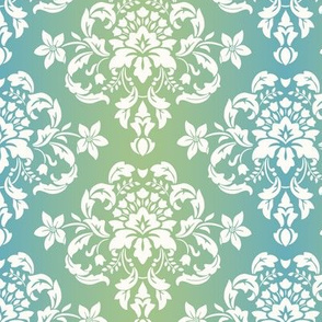 Blue Green Damask