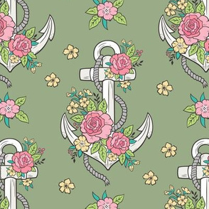 Anchor Nautical & Vintage Boho Roses Flowers on Olive Green