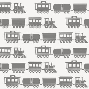 trains - grey on grey