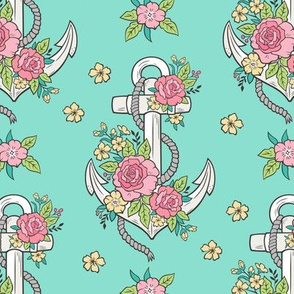 Anchor Nautical & Vintage Boho Roses Flowers on Mint Green