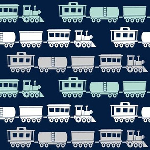 trains on navy - modern train fabric