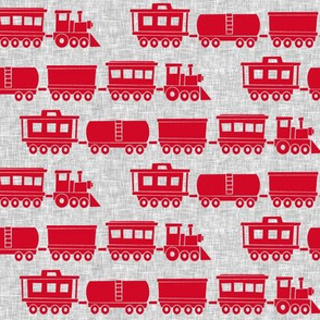 trains - red on grey linen - nursery train fabric