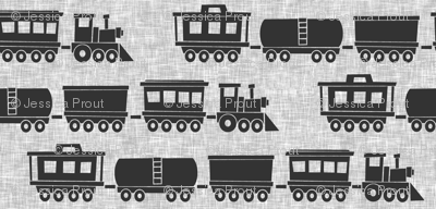 trains - grey on linen
