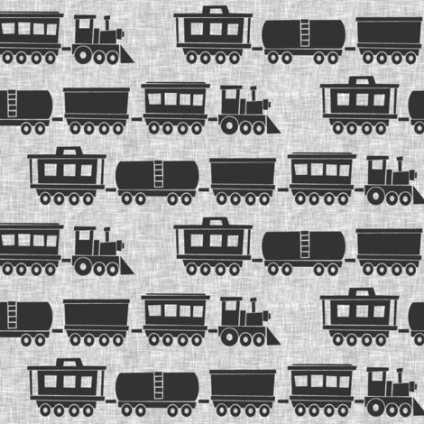 trains - grey on linen fabric by littlearrowdesign on Spoonflower - custom fabric