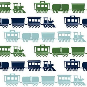 multi trains - green, navy, dusty blue