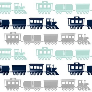 multi trains - grey, dark mint, navy