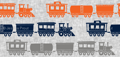 multi trains - grey, navy, orange on grey linen