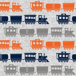 multi trains - grey, navy, orange on grey linen