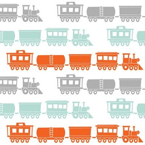 multi trains - grey, mint, orange