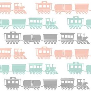 multi trains - pink, mint, grey - baby girl train fabric