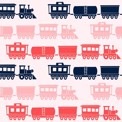 multi trains on pink - train fabric - baby girl fabric by littlearrowdesign on Spoonflower - custom fabric