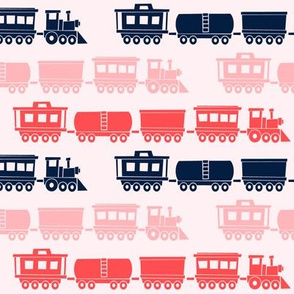 multi trains on pink - train fabric - baby girl