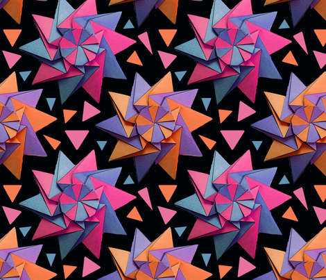 star origami black 10x10 fabric by leroyj on Spoonflower - custom fabric