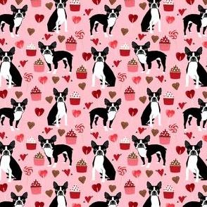 boston terrier valentines day fabric love valentines day boston terriers fabric - (small)