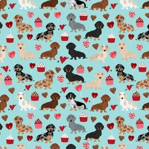 doxie love valentines fabric cute love design best cupcakes and sweets dachshund valentines fabric - (small)