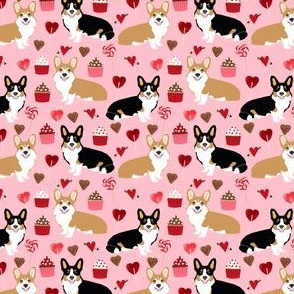 corgis tri colored corgi fabric cute valentines love pink design best cupcakes and sweet design - (small)