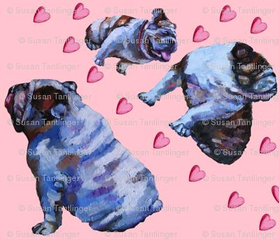 English Bulldog Valentine Scarf