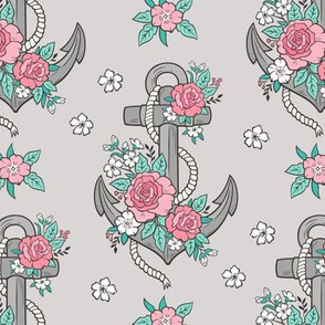 Anchor Nautical & Vintage Boho Roses Flowers on Light Grey