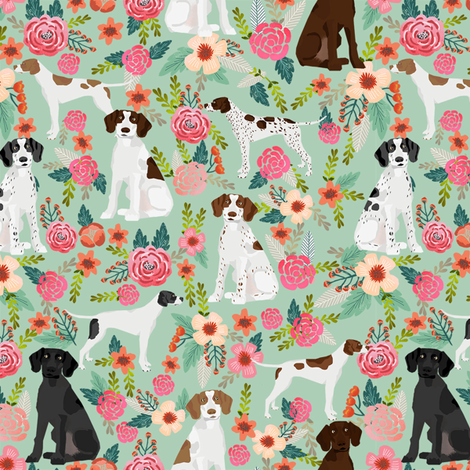 english pointer florals fabric - pointer dog design - mint fabric by petfriendly on Spoonflower - custom fabric