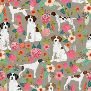 english pointer florals fabric - pointer dog design -tan