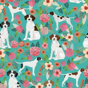 english pointer florals fabric - pointer dog design - turquoise