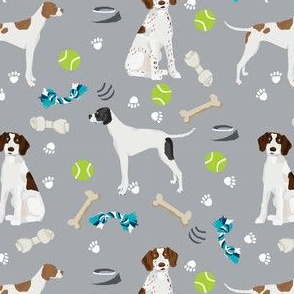 english pointer dog fabric - dogs and toys design - grey