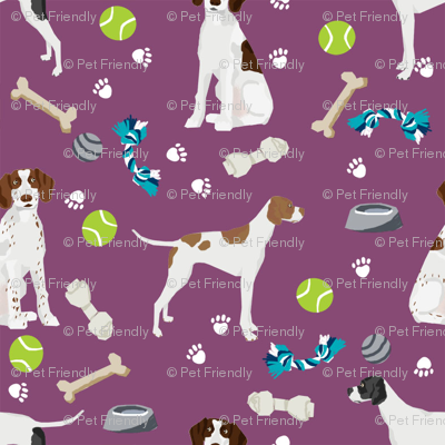 english pointer dog fabric - dogs and toys design - purple