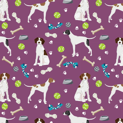 english pointer dog fabric - dogs and toys design - purple fabric by petfriendly on Spoonflower - custom fabric