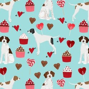 english pointer dog fabric - valentines love cute cupcakes design - blue