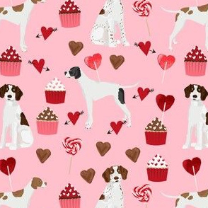 english pointer dog fabric - valentines love cute cupcakes design - pink