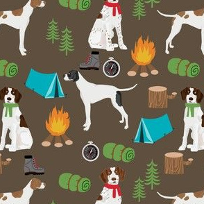 english pointer dog fabric - dogs and camping outdoors summer design - brown