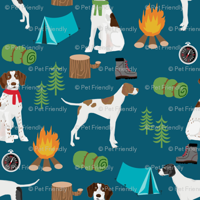 english pointer dog fabric - dogs and camping outdoors summer design - dark blue