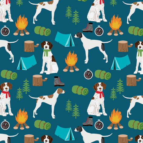 english pointer dog fabric - dogs and camping outdoors summer design - dark blue fabric by petfriendly on Spoonflower - custom fabric