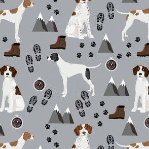 english pointer hiking dog fabric - outdoors compass mountains design - grey