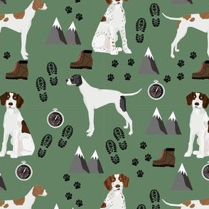 english pointer hiking dog fabric - outdoors compass mountains design - green