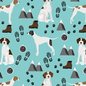 english pointer hiking dog fabric - outdoors compass mountains design - blue