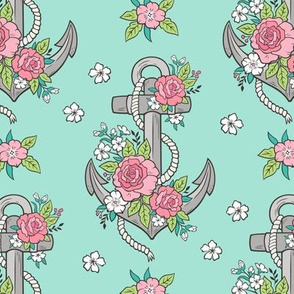 Anchor Nautical & Vintage Boho Roses Flowers Grey on Light Mint Green