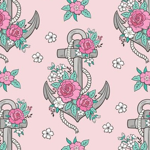 Anchor Nautical & Vintage Boho Roses Flowers Grey on pink
