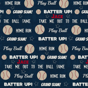 Cream text - baseball vintage navy worn baseball stars and text -PERSONALIZED Jace