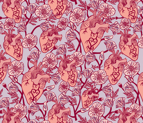 Ankara floral heart-01 fabric by rikkandesigns on Spoonflower - custom fabric