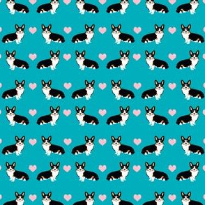 corgi love tri colored fabric corgi valentines fabric love hearts (ULTRA TINY)