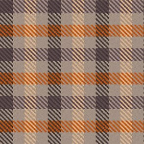 Asymmetric Plaid in Chocolate Cream and Orange