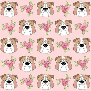english bulldog faces-and-roses