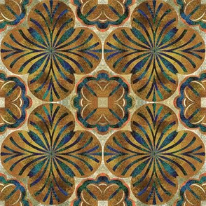 Mottled Golds and Blue Greens inspired by Spanish Tile