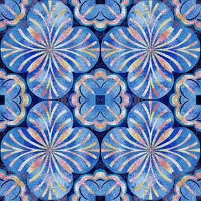 Mottled Blues and Red Oranges Inspired by Spanish Tile